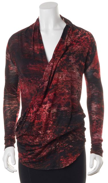 HELMUT LANG Red Black White Printed Wool Drape Front Blouse Top