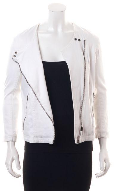 HELMUT LANG White Halo Denim Moto Jacket
