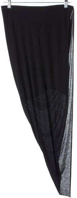 HELMUT LANG Black Gathered Drape Front Asymmetrical Hem Skirt