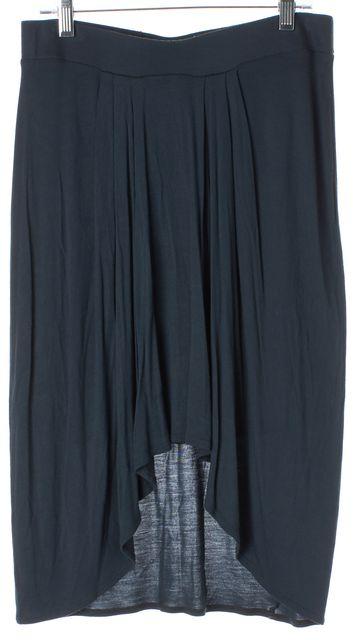 HELMUT LANG Green Stretch Knit Jersey Elastic Waist Pleated High-Low Skirt