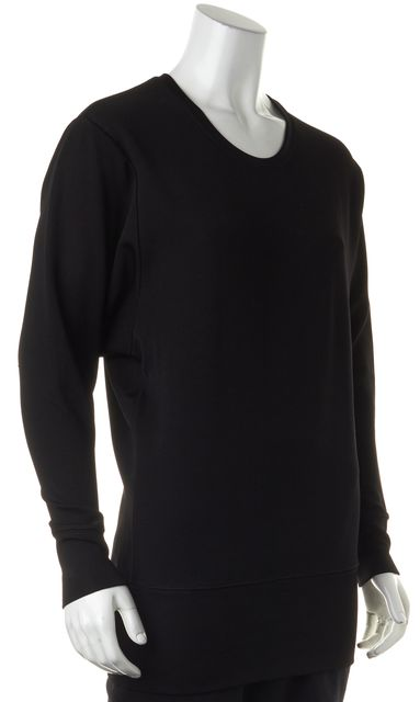 HELMUT LANG Black Semi Sheer Long Sleeve Knit Top