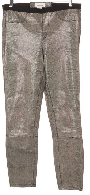 HELMUT LANG Black Ivory Print Lamb Leather Leggings Pants