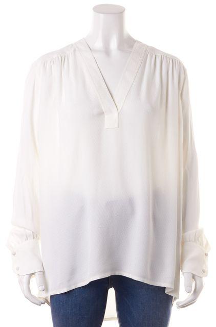 HELMUT LANG White V-Neck Blouse Top