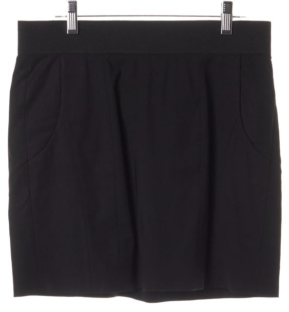 HELMUT LANG Black Stretchy Wool Pocket Front Straight Skirt