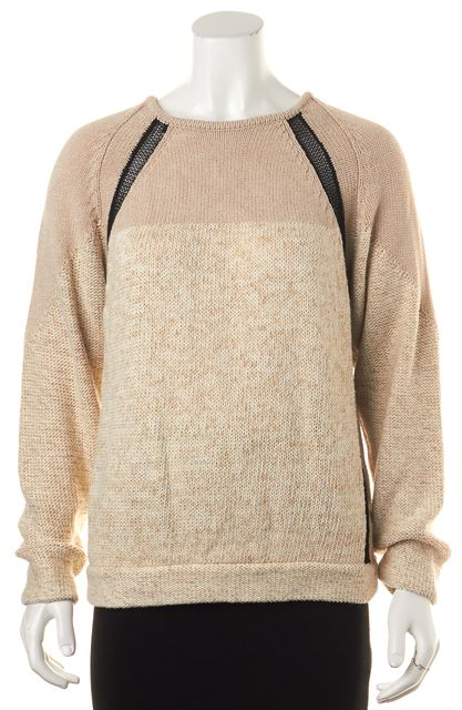 HELMUT LANG Beige Black Mesh Trim Long Sleeve Crewneck Sweater