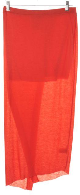 HELMUT LANG Orange Semi Sheer Midi Wrap Effect Stretch Knit Skirt