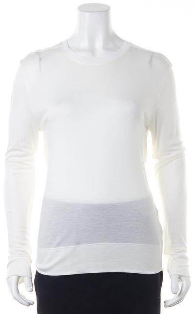 HELMUT LANG Ivory Draped Cutout Back Long Sleeve Crewneck Sweater