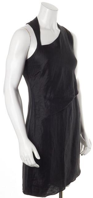 HELMUT LANG Black Linen Asymmetrical Hem Dress