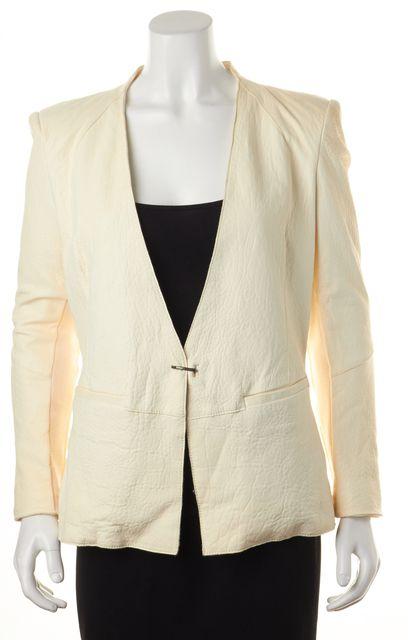 HELMUT LANG Ivory 100% Lamb Leather Basic Jacket