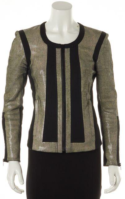 HELMUT LANG Metallic Beige Black Leather Zip-Up Basic Jacket