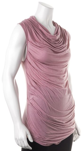 HELMUT LANG Pink Scoop Neck Drape Front Sleeveless Blouse Top