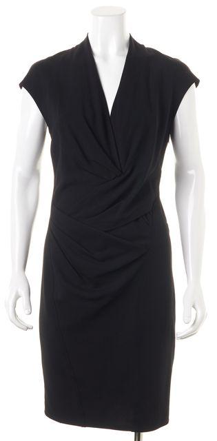 HELMUT LANG Black Wool Draped Cap Sleeve Sheath Dress