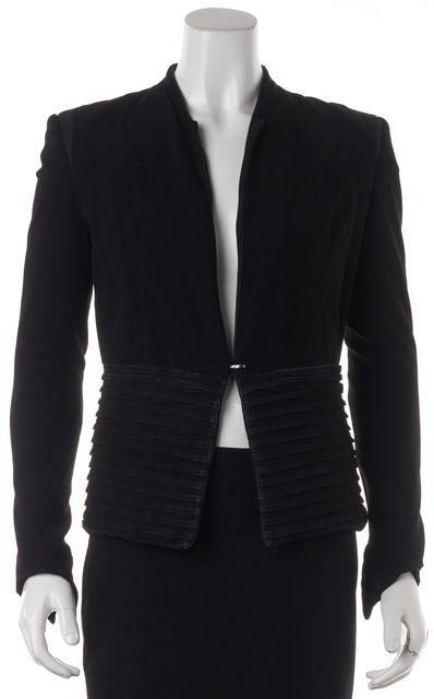 HELMUT LANG Black Wool Leather Trim Collarless Blazer Jacket
