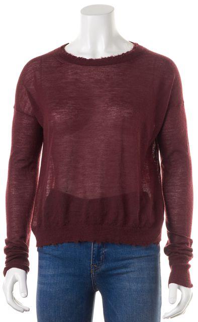HELMUT LANG Burgundy Red Cashmere Sheer Knit Frayed Trim Sweater Top