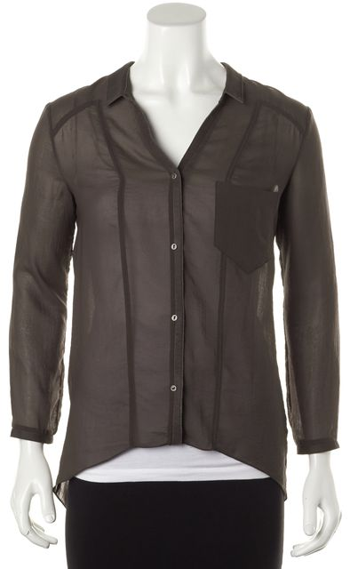 HELMUT LANG Brown Semi Sheer Leather Trim Blouse