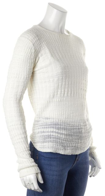 HELMUT LANG White Cotton Knit Long Sleeve Thin Crewneck Sweater