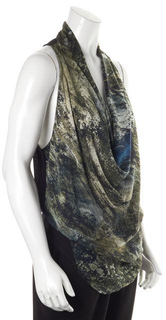 HELMUT LANG Black Green Abstract Silk Cowl Neck Racerback Blouse