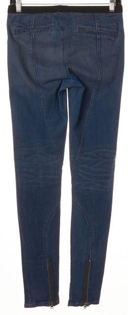 HELMUT LANG Blue Elastic Waist Ankle Zip Super Skinny Legging Jeans