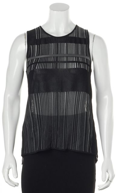 HELMUT LANG Black Gray Accents Sleeveless Open Lower Back Casual Blouse Top