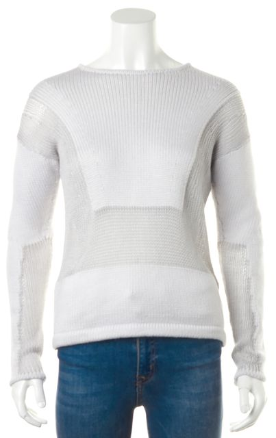 HELMUT LANG Gray Two-Tone Open Knit Crewneck Sweater