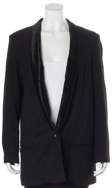 HELMUT LANG Black Calf Hair Trim Single Button Pocket Front Blazer