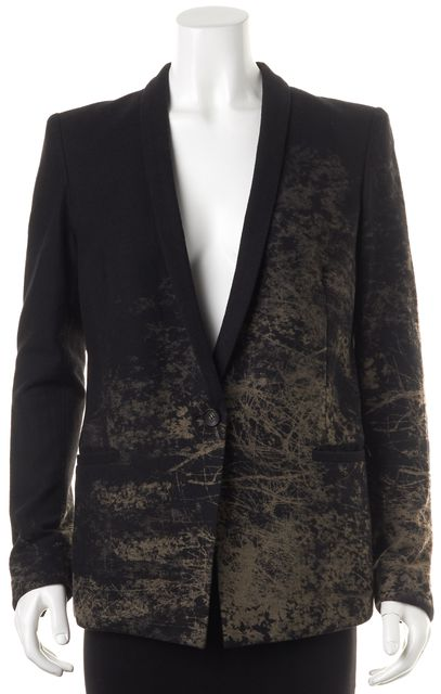 HELMUT LANG Black Beige Dark Forest Print Wool Single Button Blazer