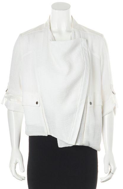 HELMUT LANG White Leather Trim Semi Sheer Zip-Up Basic Jacket