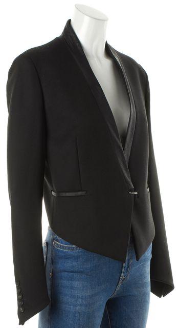 HELMUT LANG Black Leather Trim Cropped Back Hook & Eye Blazer