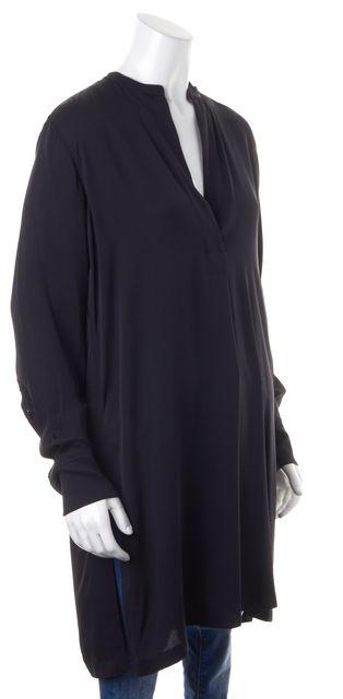 HELMUT LANG Solid Black Crepe Silk Button Down Open Neck Shirt