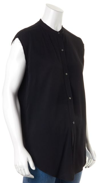 HELMUT LANG Black Sleeveless Open Back Button Down Shirt Blouse