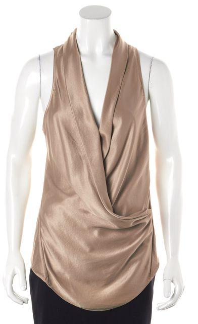 HELMUT LANG Gold Wrap-Effect Sleeveless Blouse Top