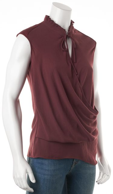 HELMUT LANG Burgundy Red Tie Neck Wrap Effect Blouse Top