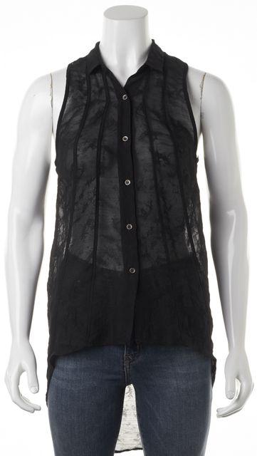 HELMUT LANG Black Wool Semi Sheer Button Front Sleeveless Blouse Top
