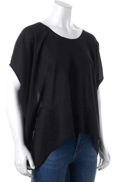 HELMUT LANG Black Relaxed Fit Scoop Neck Semi Sheer Blouse Top