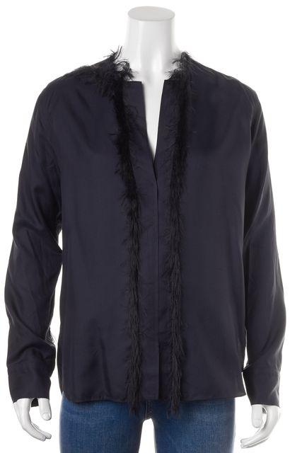 HELMUT LANG Navy Blue Fringe Trim Silk Twill Blouse Top