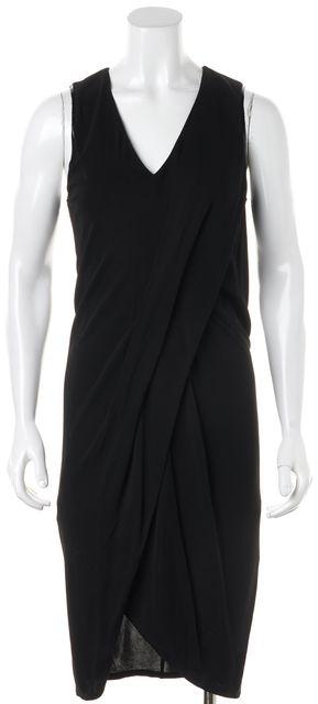 HELMUT LANG Black V-Neck Sleeveless Viscose Sheath Dress