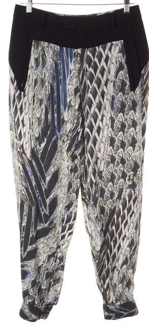 HELMUT LANG Black Gray Blue Abstract Print Casual Pants