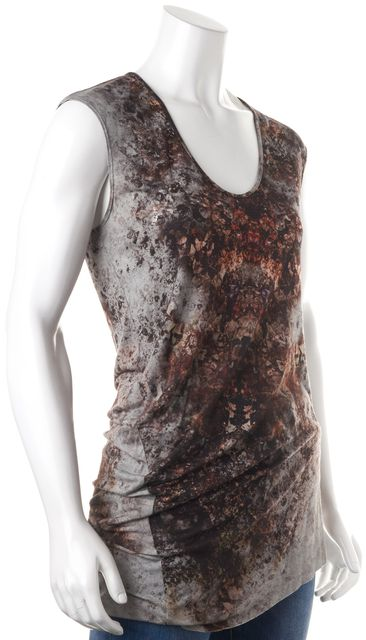 HELMUT LANG Gray Red Abstract Blouse Top