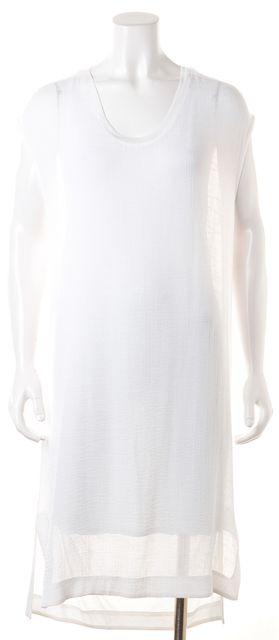 HELMUT LANG White Sleeveless Mid-Calf Shift Dress
