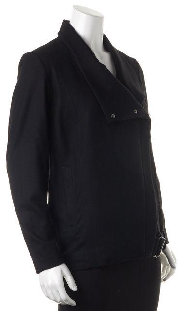 HELMUT LANG Black Wool Asymmetrical Zip-Up Belted Basic Jacket