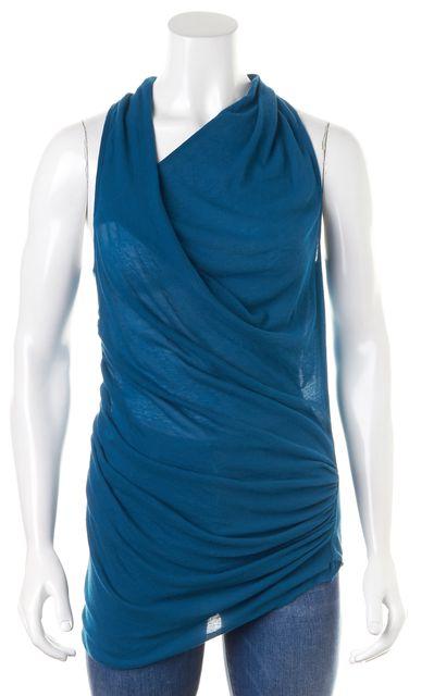 HELMUT LANG Blue Draped Sleeveless Cowl Neck Blouse Top