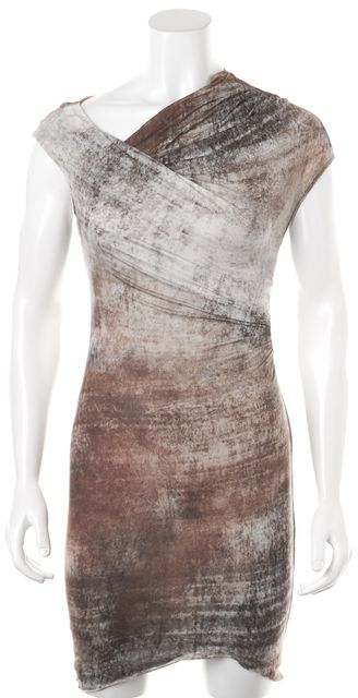 HELMUT LANG Brown Abstract Sleeveless Above Knee Stretch Dress