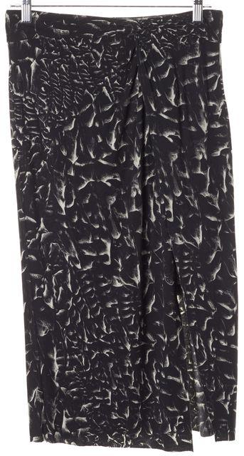 HELMUT LANG Black White Abstract Knee-Length Wrap Skirt