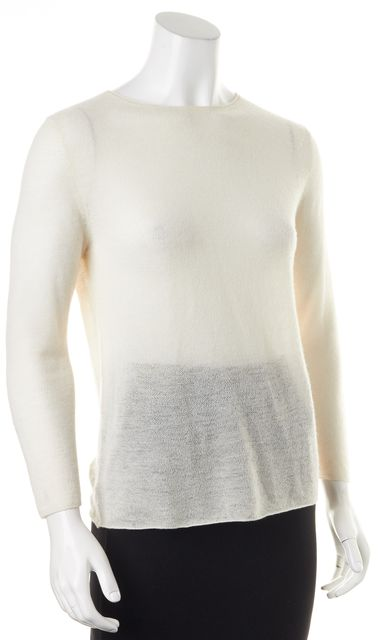HELMUT LANG Ivory Cashmere Semi Sheer Long Sleeve Knit Top