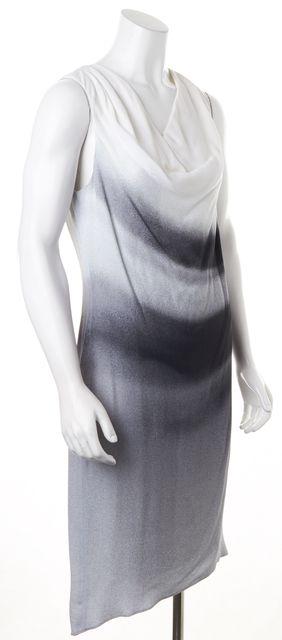HELMUT LANG Gray Ivory Ruched Sleeveless Knee-Length Sheath Dress