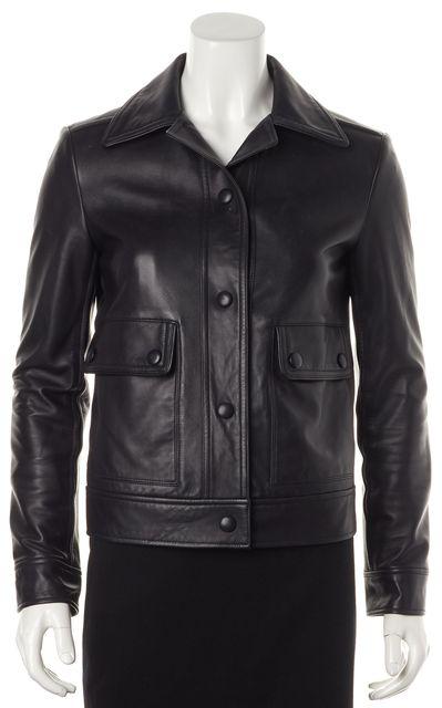 HELMUT LANG Black Lamb Leather Pocket Front Snap Buttons Basic Jacket