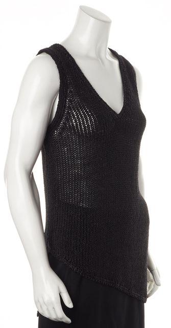 HELMUT LANG Black Asymmetric Sleeveless V-Neck Open Knit Top