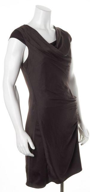 HELMUT LANG Dark Chocolate Brown Ruche Cap Sleeve Sheath Dress