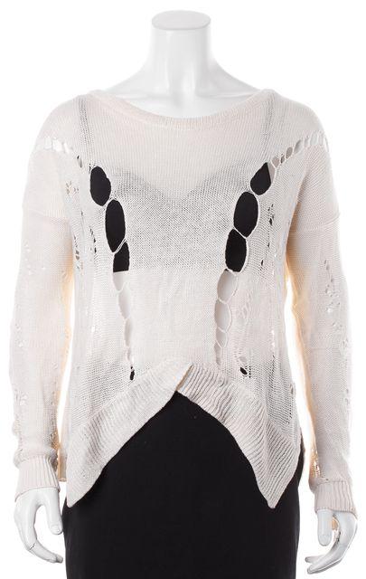 HELMUT LANG Ivory Linen Long Sleeves Semi Sheer Open Knit Top