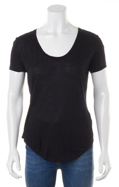 HELMUT LANG Black Modal Jersey Short Sleeve Basic Tee T-Shirt